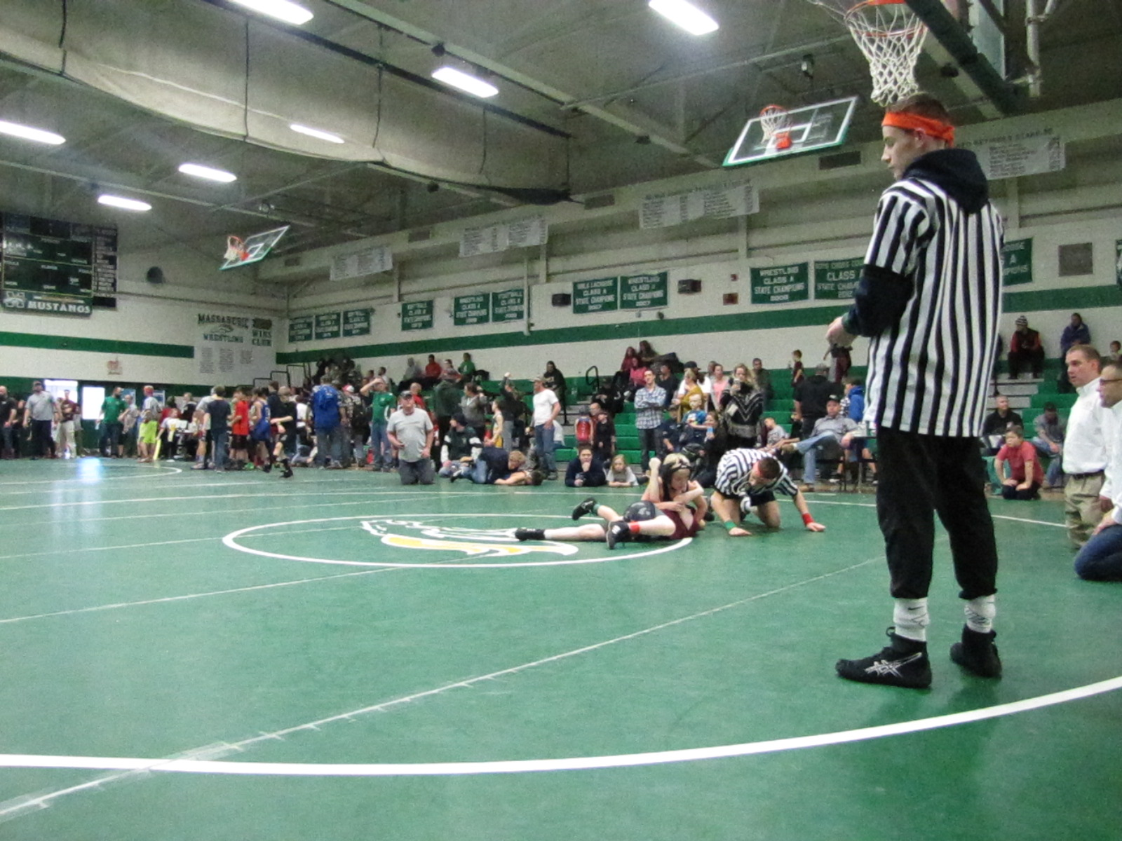 TAYLOR MORRISON/JOURNAL TRIBUNEYoung wrestlers at the Alex Holland Pre-Season Youth Wrestling Tournament. More than 16 teams gathered at the tournament, hosted by the Massabesic Youth Wrestling Club at Massabesic High School, Sunday, Jan. 8, 2017.