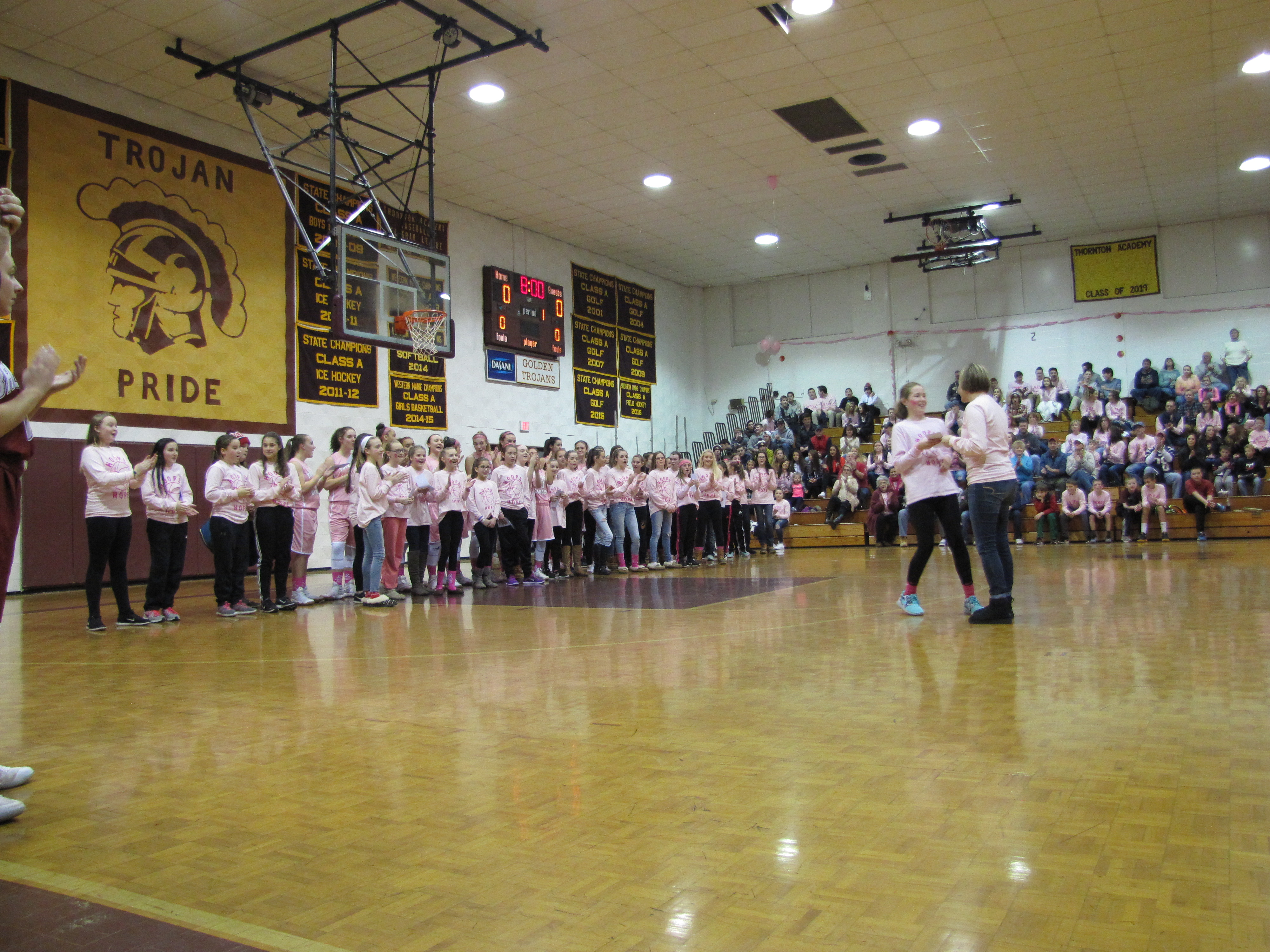 TAYLOR MORRISON/JOURNAL TRIBUNEStudents are recognized for raising funds for cancer research during the Hoops for Hope series at Thornton Academy, Saturday Jan. 14, 2017.