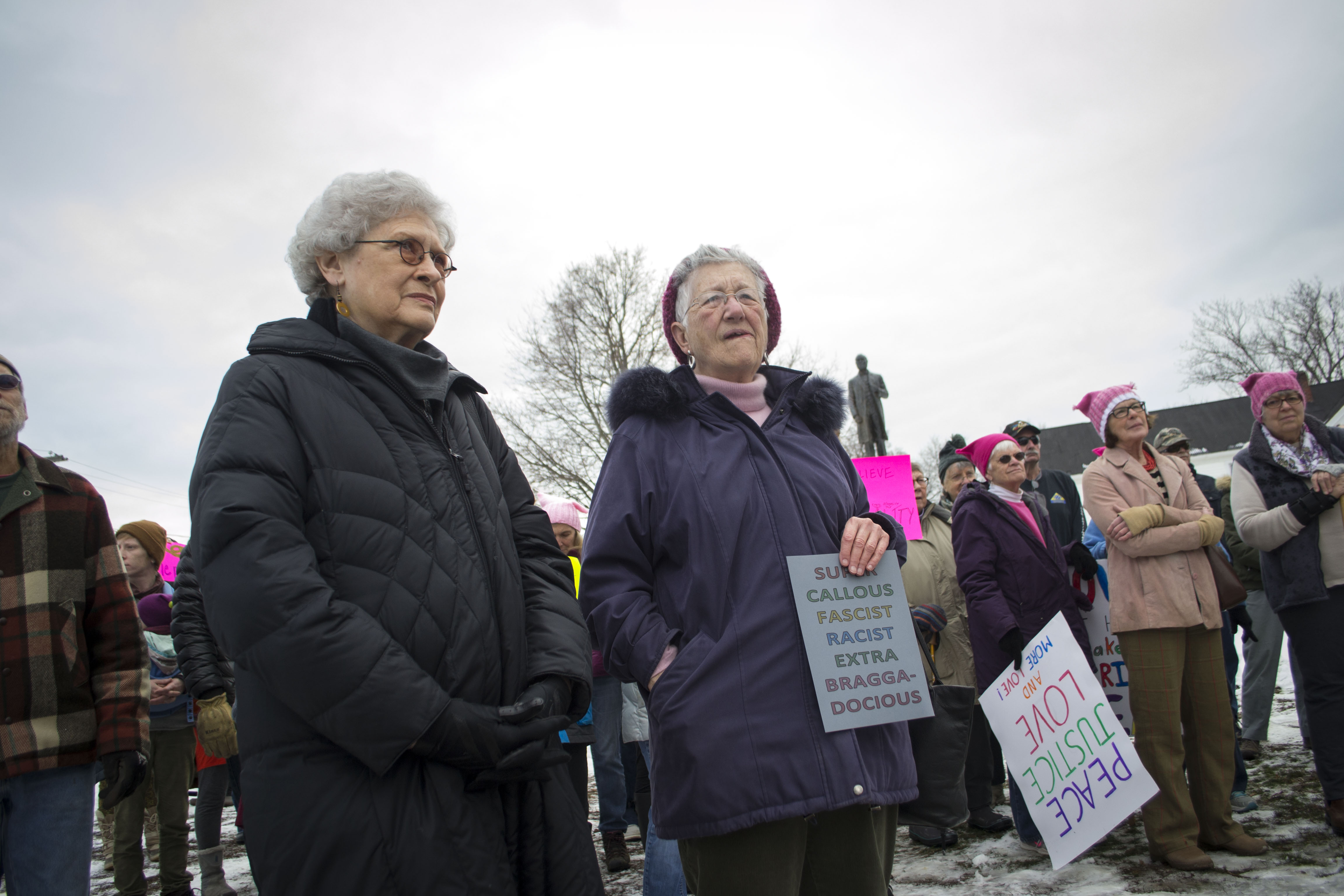 Activists listen to speeches in Central park before marching down Main Street in Sanford, as part of the Women's March on Maine on Saturday. ALAN BENNETT/Journal Tribune.