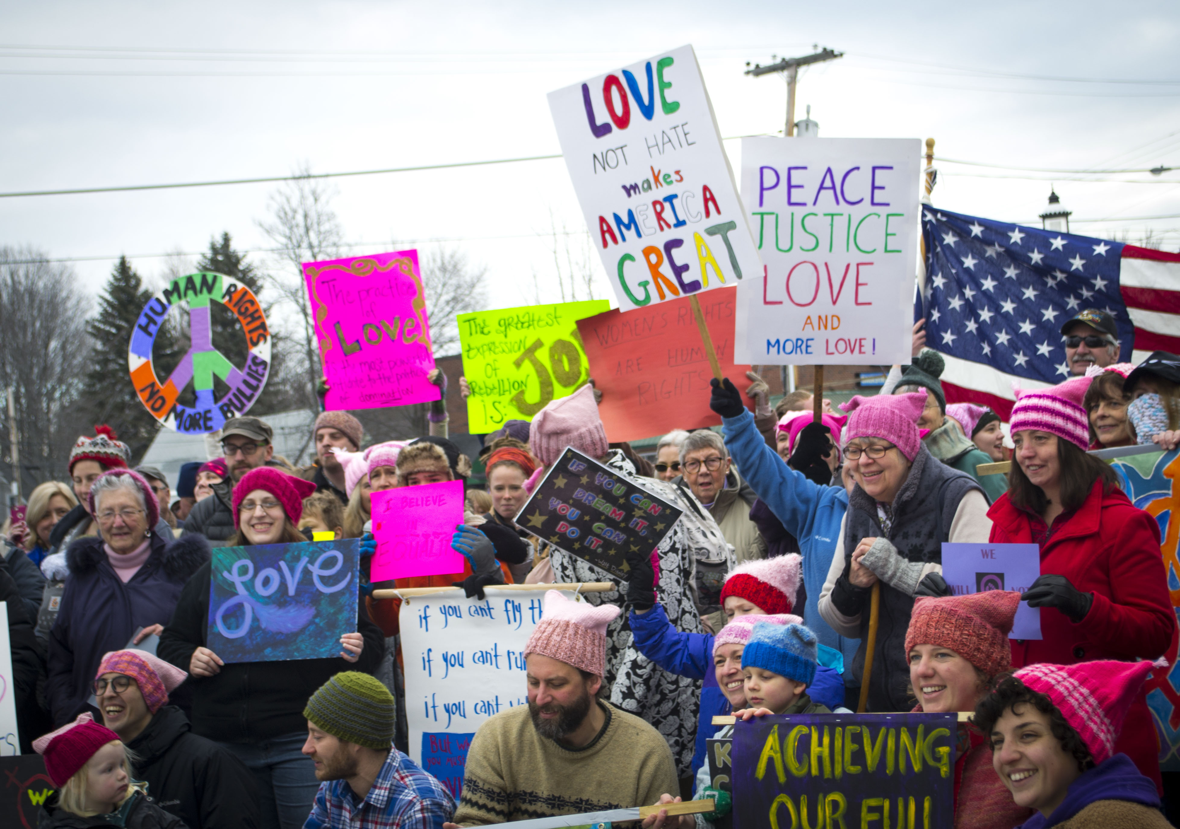 A crowd of about 100 gathers at a rally before taking to the streets during the Women's March on Maine: Sanford on Saturday, to advocate for women's, civil and human rights. ALAN BENNETT/Journal Tribune