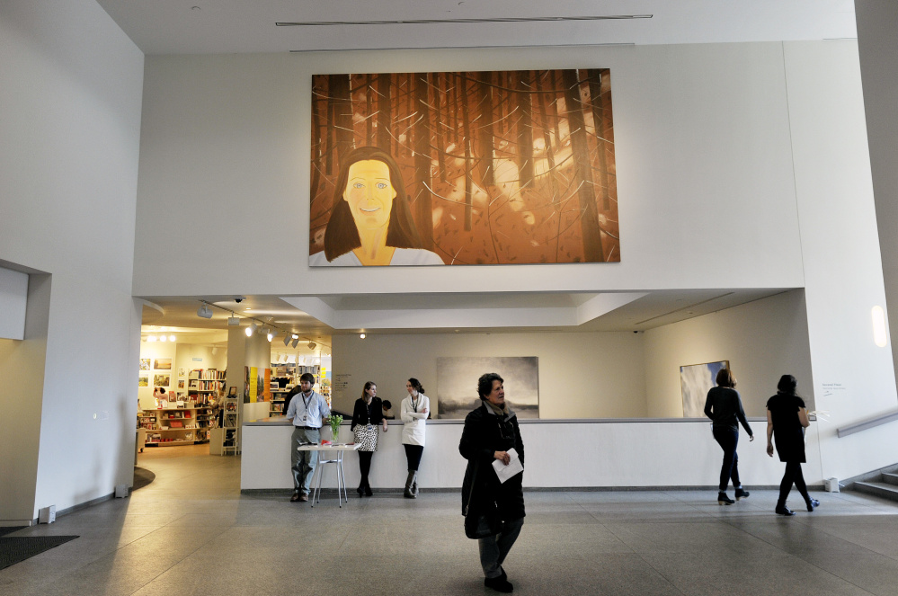 """""""Woman in the Woods"""" by Alex Katz is now on display near the entrance at the Portland Museum of Art."""