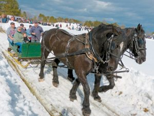 HUNDREDS TOOK advantage of the warmer weather and waited in line for a horse- or pony-drawn sleigh at the World's Greatest Sleigh Ride in Lisbon on Sunday. The 24th annual event was sponsored by the Pejepscot Sno-Chiefs and Farmer's Draft Horse Mule and Pony Club to benefit Pine Tree Camp — which serves more than 650 Maine children and adults with disabilities every summer.