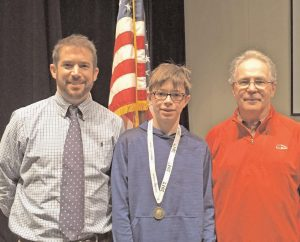 ANDREW CHAMBERLAND, an 8th grade student at Mt. Ararat Middle School won the school competition of the National Geographic Bee and a chance at a $50,000 college scholarship. The Bee was held in front of an all-school assembly on Wednesday, Feb. 1. Chamberland and the rest of the finalists including Greg DeMeyer, Sebastian Scherry, Zander Chown, Sadie Skinner, Abagail Faltmier (runner-up), Annie Watkins, Sydney Dyer, Lily Collier and Nick Holland answered questions on geography as part of the first round in the 29th annual National Geographic Bee. Chamberland will attempt to compete in the state bee before the national finals to win a $50,000 scholarship.
