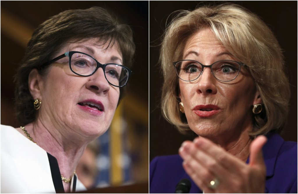 Susan Collins says she won't support Betsy DeVos' bid for education secretary.