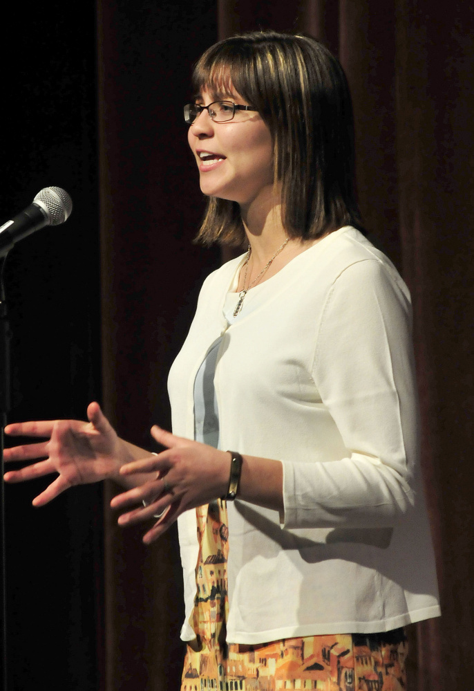 Gabrielle Cooper of Gardiner Area High School competes in the Poetry Out Loud finals at the Waterville Opera House on Monday.