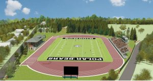 THIS ARTIST'S RENDERING shows the envisioned update to the Whittier Field and Magee-Samuelson Track complex at Bowdoin College in Brunswick.