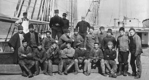 THE CREW of the Bath-built schooner Arthur Sewall pose for a photograph in Hiogo, Japan in 1902.