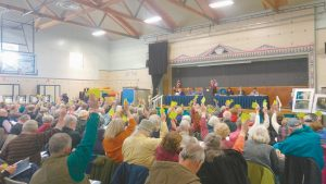 HARPSWELL RESIDENTS gathered Saturday at Harpswell Community School to vote at the annual Town Meeting moderated by John Loyd Jr.
