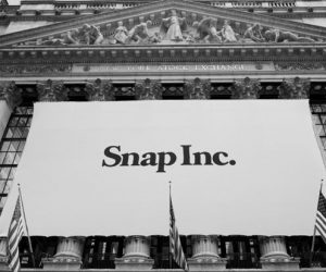 A BANNER FOR SNAP INC. hangs from the front of the New York Stock Exchange Thursday in New York.