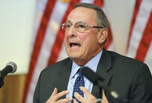 MAINE GOV. PAUL LEPAGE speaks at a town hall meeting on Wednesday in Yarmouth.