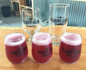 FLIGHT DECK BREWING, which opened last Thursday at Brunswick Landing, will feature a tasting room with rotating drafts, including this yet-to-be-named blueberry brew.
