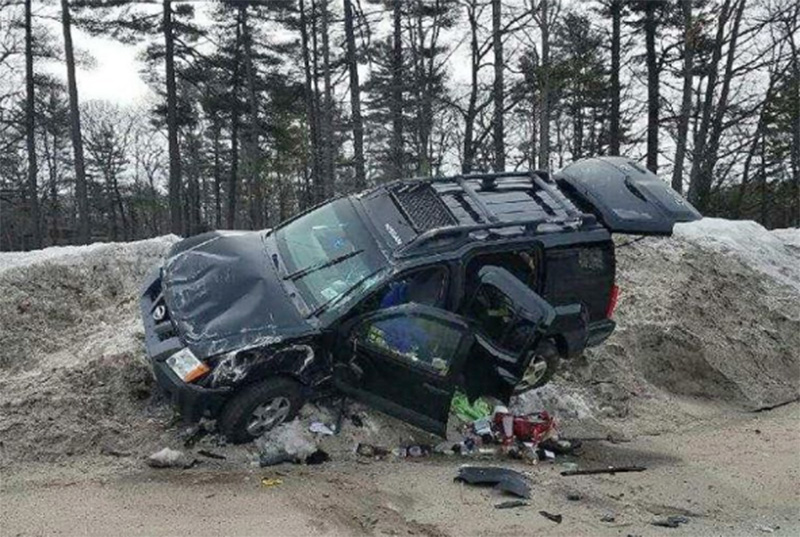 SUV that crashed after three Long Creek inmates allegedly stole it, prompting a police chase.