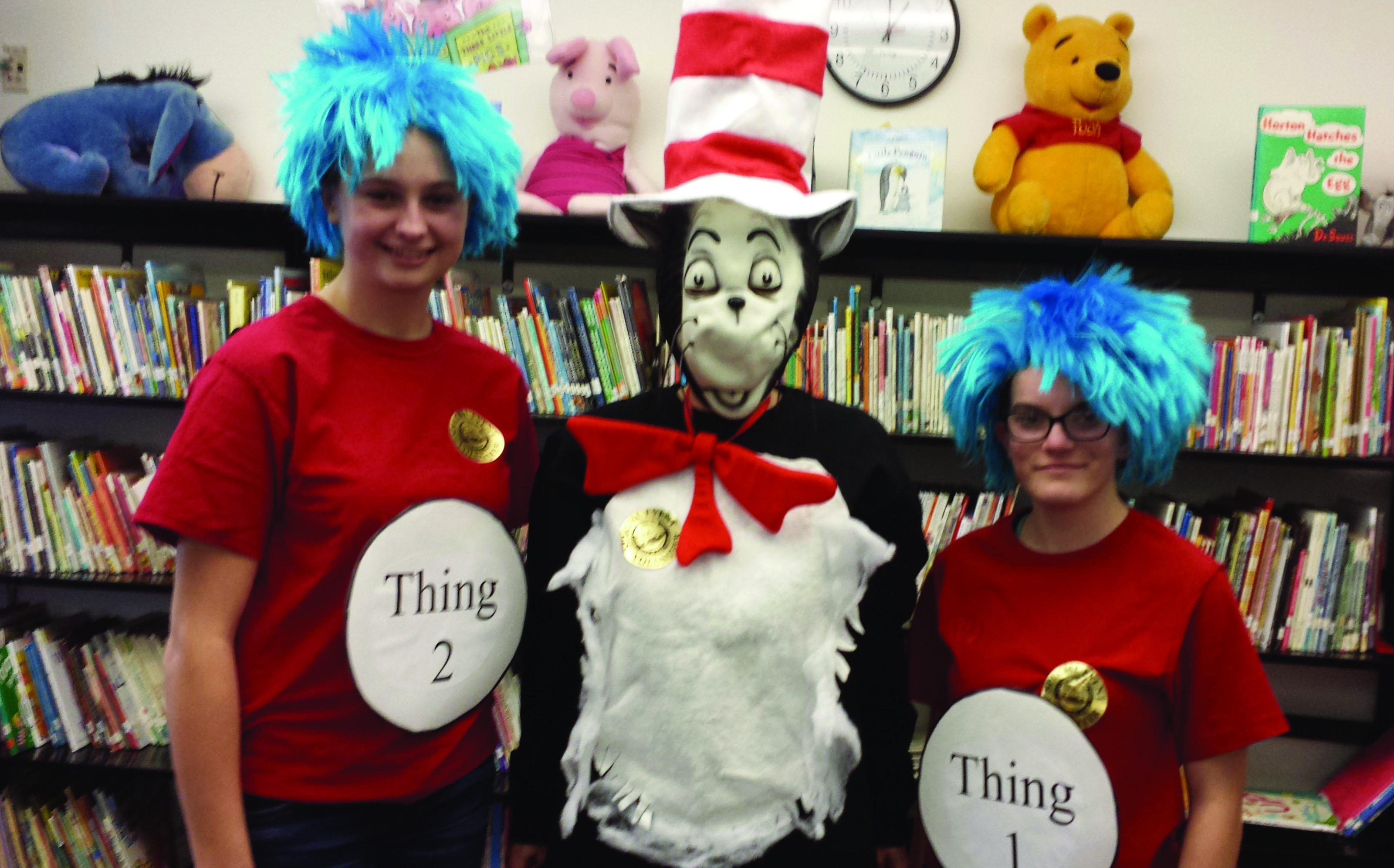 The 'Cat in the Hat' and company pay a visit to Wells Elementary School on Celebration of Reading Day on March 3. SUBMITTED PHOTO