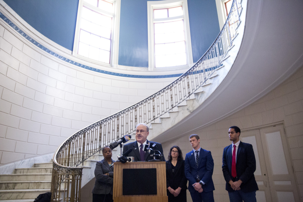 City Councilor David Brenerman spoke at a press conference in February at City Hall, where councilors discussed their support for body cameras for police officers and their trust in the police chief.