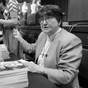 """SISTER HELEN PREJEAN, famous for the book """"Dead Man Walking"""" about her work with death-row inmates, greets students and signs books after speaking at Belmont University in Nashville, Tenn. Prejean, a death penalty opponent, has taken to Twitter to fight the scheduled executions of seven Arkansas death-row inmates before the end of April. At times she has tweeted the phone numbers of Gov. Asa Hutchinson and Attorney General Leslie Rutledge."""