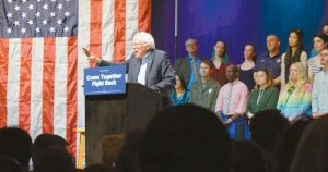 SEN. BERNIE SANDERS, I-Vt., speaking at the State Theater in Portland on Monday.
