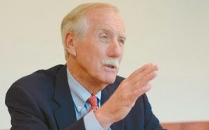 SEN. ANGUS KING, I-Maine, last week at The Times Record's office in Brunswick.