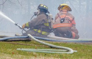 FIREFIGHTERS at Wednesday's house fire in Richmond.
