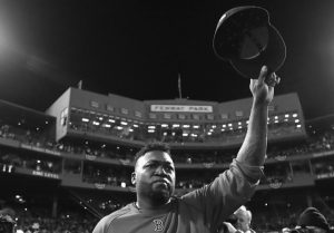 FORMER BOSTON RED SOX designated hitter David Ortiz tips his cap after Game 3 of baseball's American League Division Series against the Cleveland Indians in Boston last season.
