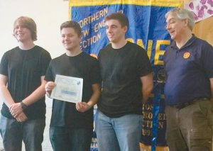 MT. ARARAT HIGH SCHOOL took first place in the SeaPerch competition this past Saturday at the Bath Area Family YMCA. From left are seniors Gage Palmer, Ian Scanlon and Ryan Renthi along with coach and science teacher Glenn Evans.