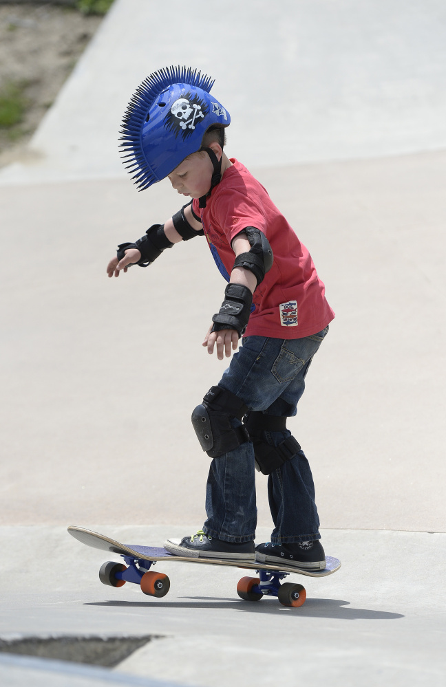 Freeman Campbell, 6, of Auburn was treated by his mother, Laura Campbell, to a day of skating in Portland on Saturday.