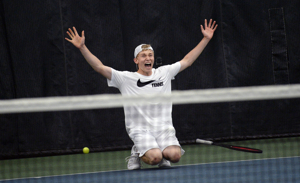 Nick Mathieu of Mt. Ararat celebrates after he defeated Falmouth's Nick Forester in three sets Monday to win his second straight singles state championships.