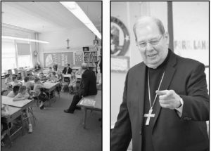 BISHOP DEELEY offered advice to St. John's students in Brunswick about finding true happiness in life during a visit on May 3.