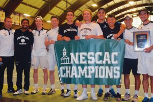 BOWDOIN MEN'S TENNIS players pose for a photo after winning the NESCAC title with a 5-4 win over Middlebury on Saturday in Williamstown, Mass.