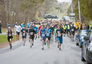 THE START of the Michael P. Murphy trail race at Whiskeag Trail in Bath as seen last spring.