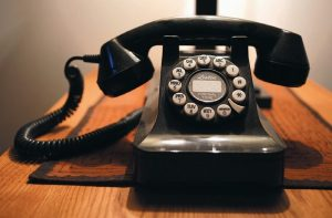 THIS PHOTO shows a push-button landline telephone in Whitefield, Maine.