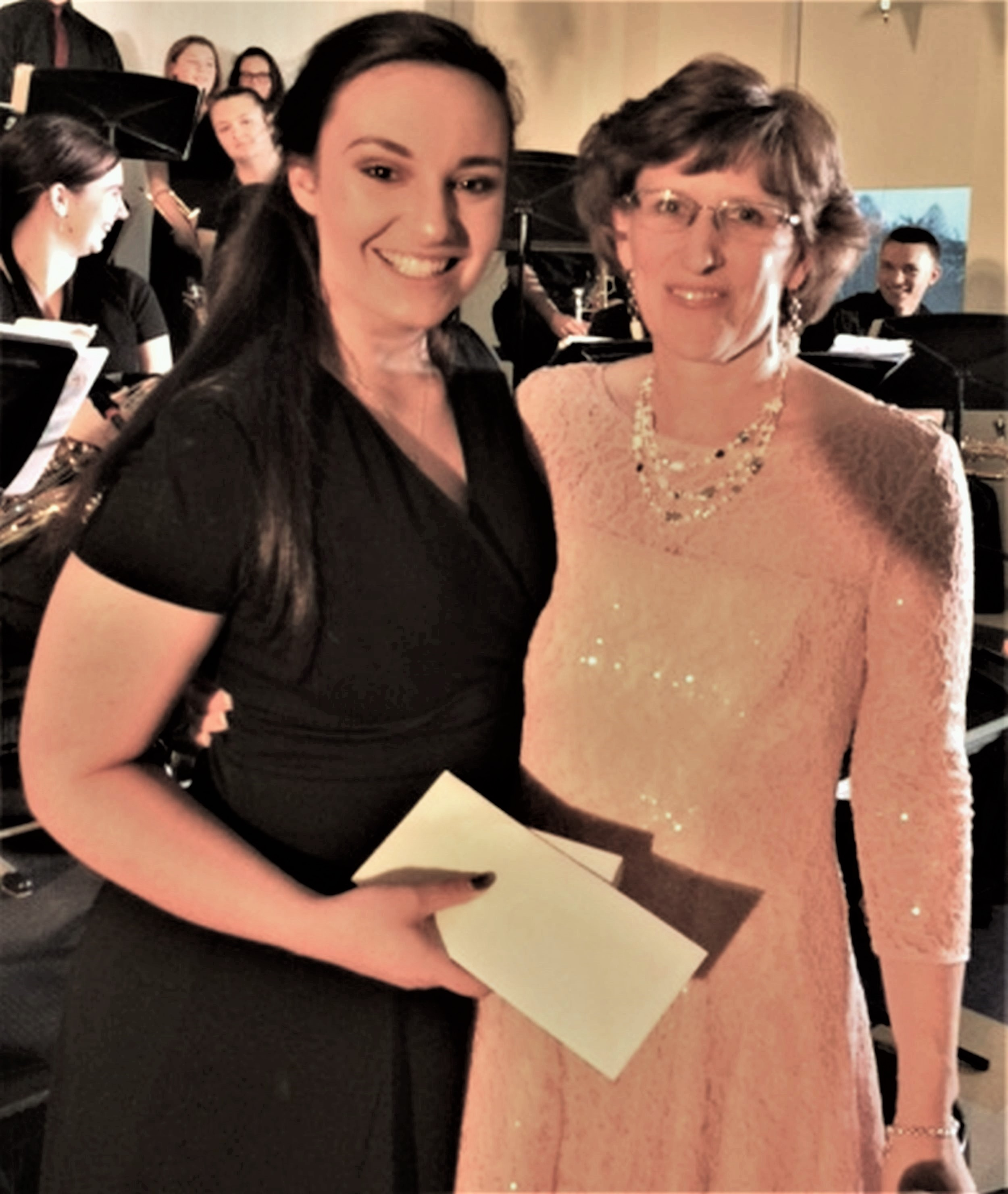 Katie Spagnolo, left, a graduating senior at Thornton Academy, is this year's recipient of the Marcel 'Mike' Drapeau Alumni Band Scholarship and she is taught by Jennifer Witherell-Stebbins, Fine Arts Department Co-Chair at Thornton Academy. SUBMITTED PHOTO