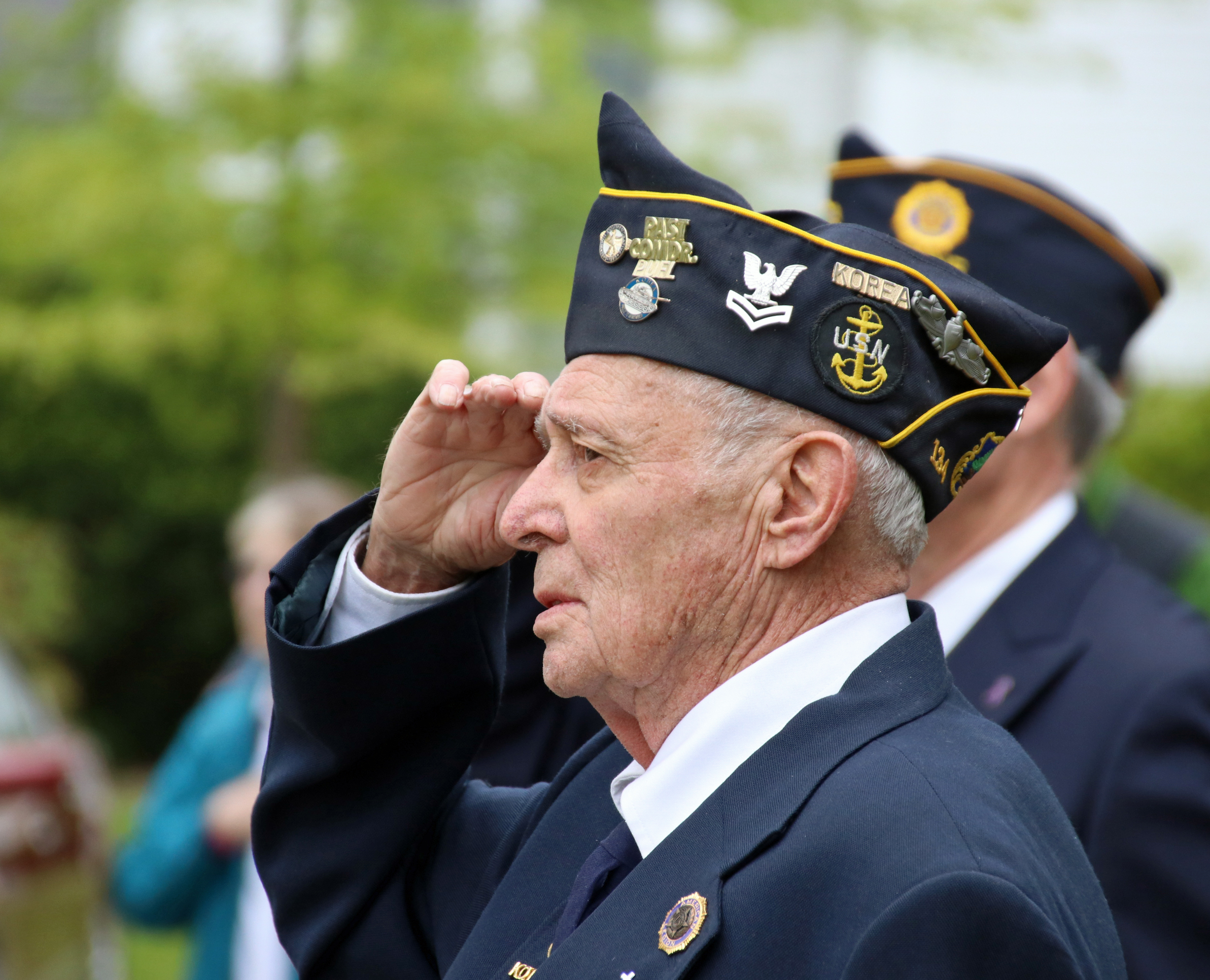 Robert Liberty of Alfred, a U.S. Navy veteran of the Korean War and a member of the Brown Emmons Post 134, American Legion, was among those marching in the Memorial Day parade in Alfred this morning.  The parade alternates annually between Alfred and Waterboro. COURTESY PHOTO/Tammy Wells