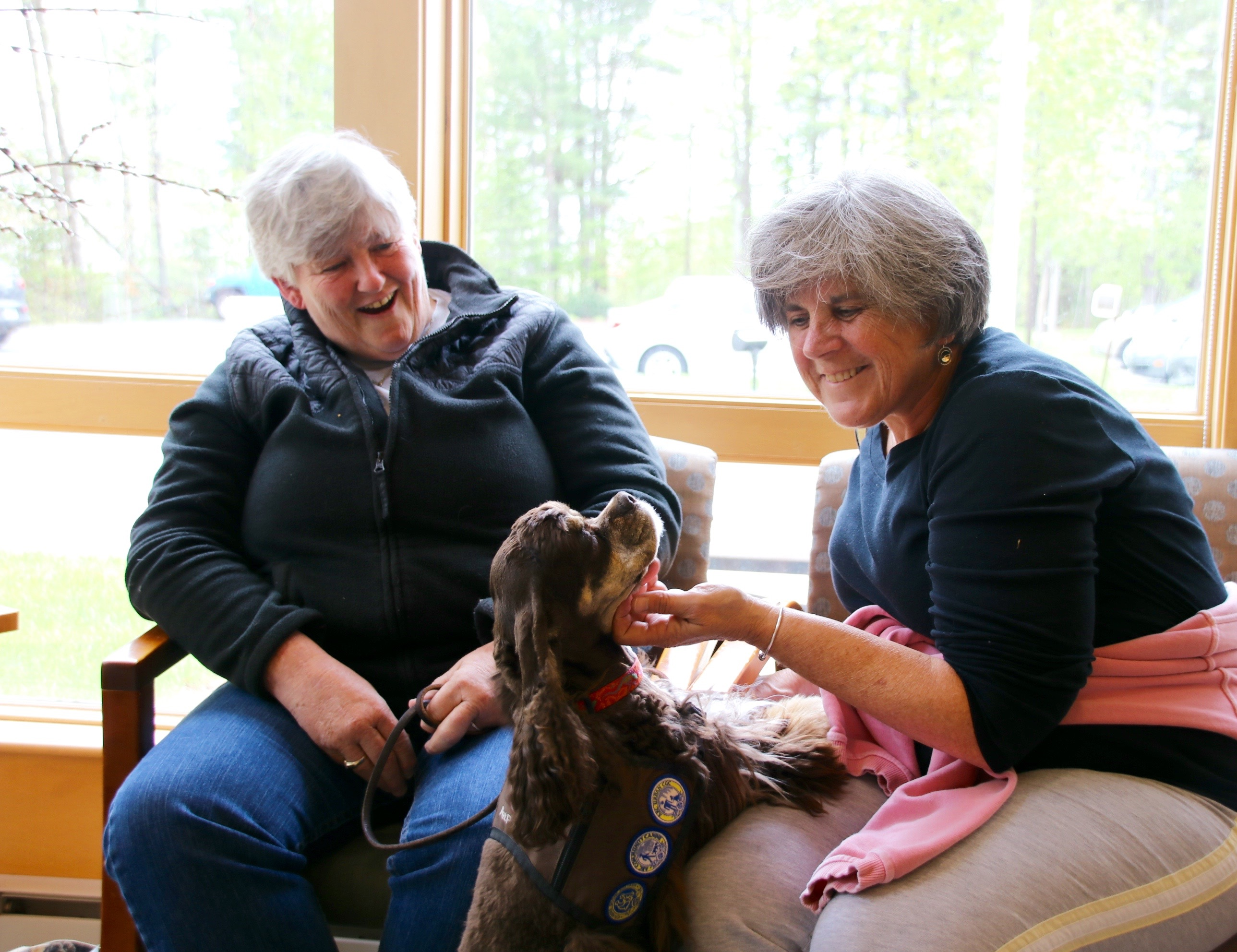 """Olivia """"Livy,"""" a therapy dog owned by Sue Walsh, left, makes friends with Lynne Vaughan at the Cancer Care Center of York County in Sanford on Monday, where she checks in weekly, greeting patients, their loved ones, and just about everyone who comes through the door,  TAMMY WELLS/Journal Tribune"""