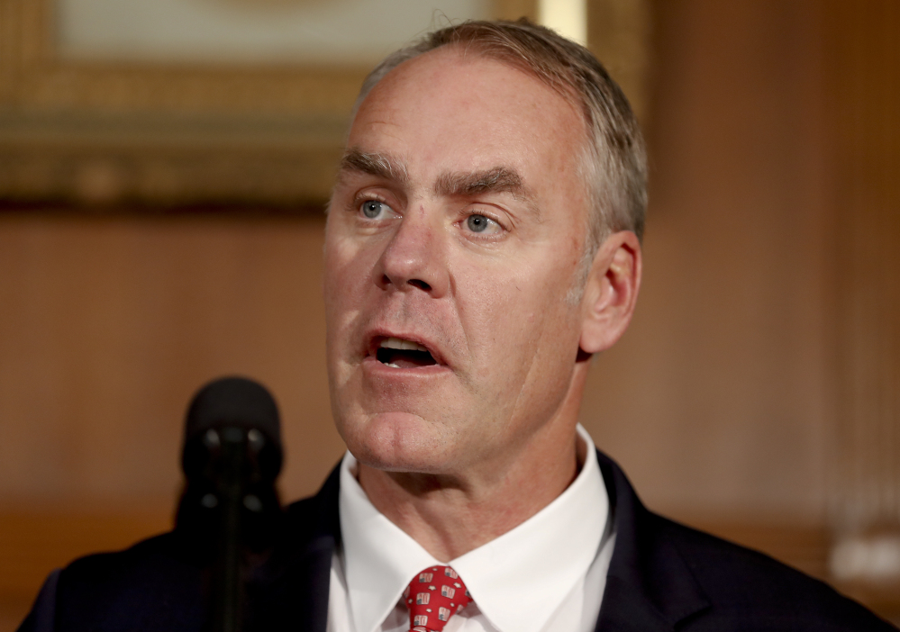 "Interior Secretary Ryan Zinke, shown in April, said Congress should approve legislation granting tribes legal authority to ""co-manage"" some of the Bears Ears National Monument site, although he is recommending that the monument be scaled back in size."