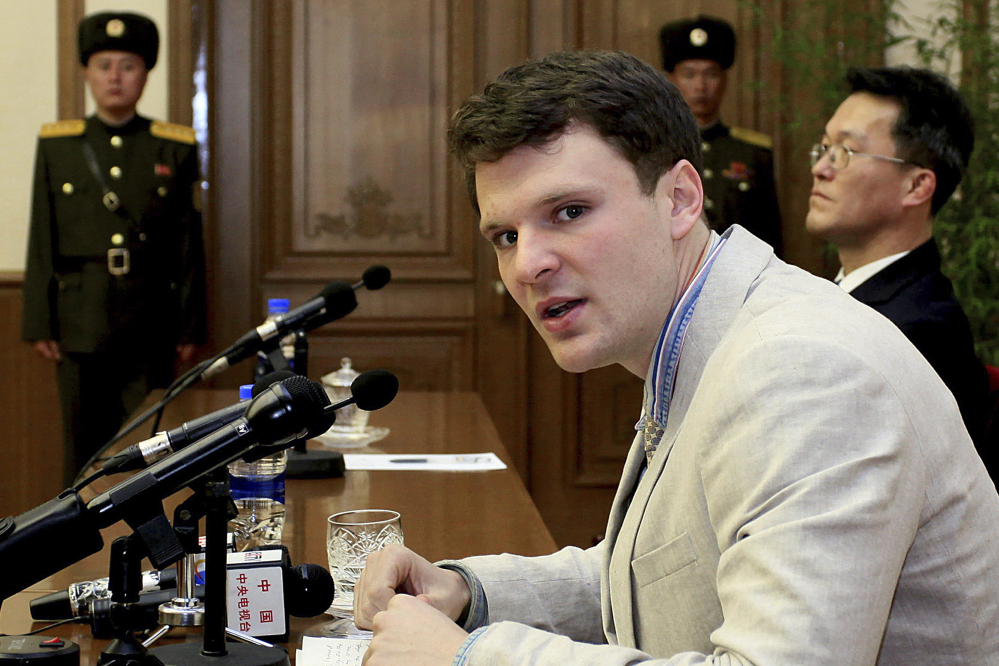 American student Otto Warmbier is shown speaking to reporters on Feb. 29, 2016, in Pyongyang, North Korea. He has died after being held for more than 17 months by North Korea for allegedly taking down a poster.