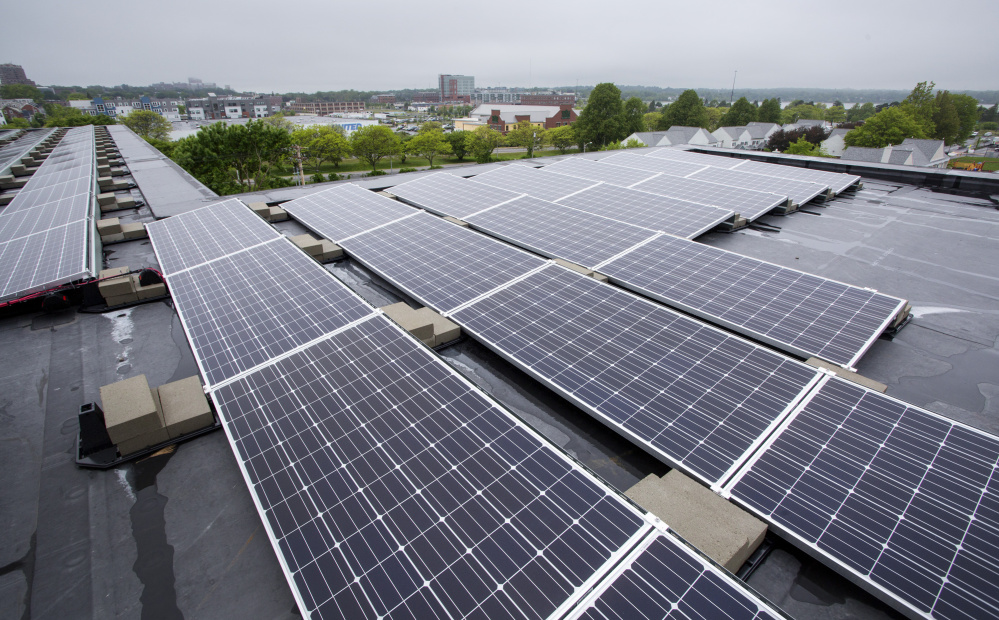 Avesta Housing and Portland Housing Authority's new complex on East Oxford Street uses solar energy for some of its power. A bill in Augusta would create incentives for more property owners to invest in solar, but lawmakers must be ready to override an expected veto by Gov. LePage.