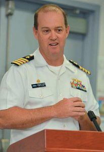 CAPT. JOSEPH TUITE speaks at a Change of Command ceremony on May 26, where he officially took command of SUPSHIP Bath.