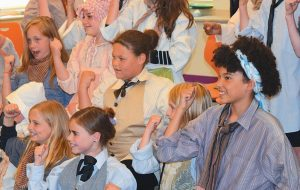 "HARRIET BEECHER STOWE fourth-grade students pose for photographs following their Spirit Series performance of ""Freedom Train."""