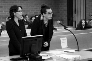 UNIVERSITY OF CONNECTICUT LAW PROFESSOR JESSICA RUBIN, left, and UConn law student Taylor Hansen present arguments as animal advocates in a dog fighting case in Superior Court in Hartford, Connecticut. Connecticut last year became the first state to allow court-appointed advocates to represent animals in cruelty and abuse cases.