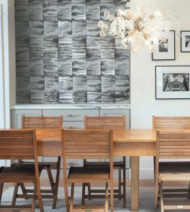 THIS PHOTO shows some of the Tides collection for Cle Tile on the wall, which is part of their collection inspired by Luca Osburn's favorite Northern California surfing spots. His Cronkhite pattern shown here evokes a foggy, wave-churned location near San Francisco.