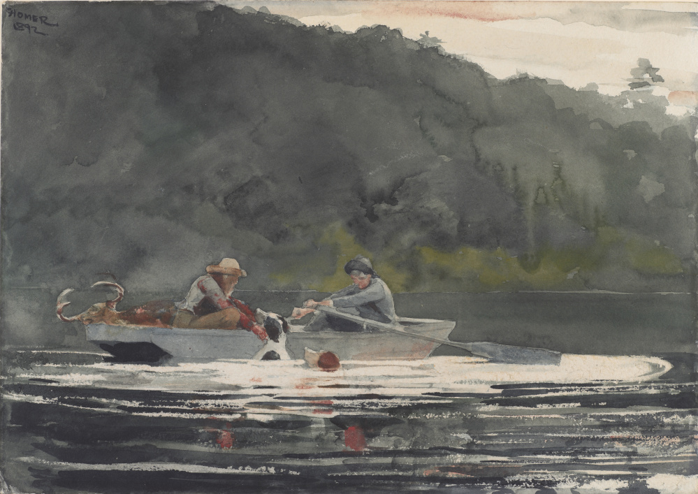 """""""The End of the Hunt,"""" by Winslow Homer, 1892, watercolor over graphite."""