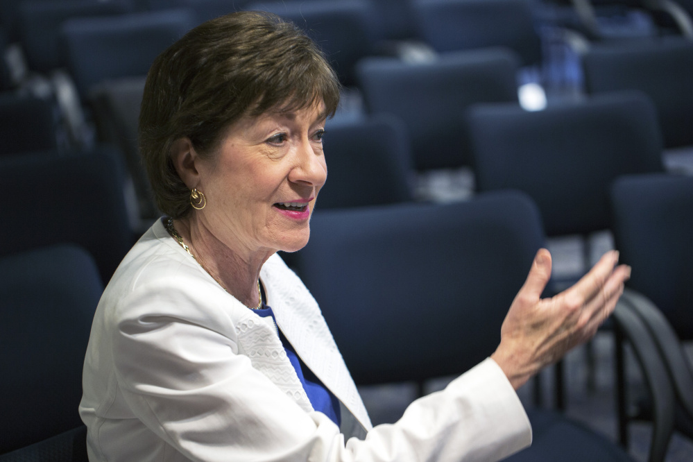"""U.S. Sen. Susan Collins, R-Maine, speaking in Scarborough on Friday, said of the investigation being conducted by special counsel Robert Mueller, """"What the president should do is not say another word and let it go forward."""""""
