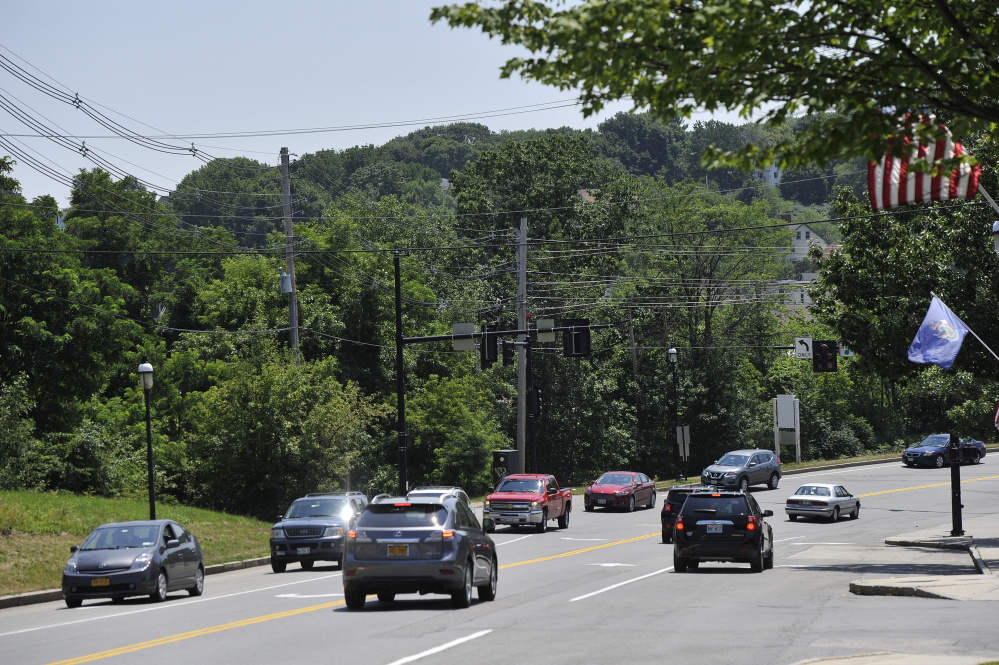 Traffic on Saco Island's Main Street often backs up, and that could be a factor in plans to develop the island's east half.