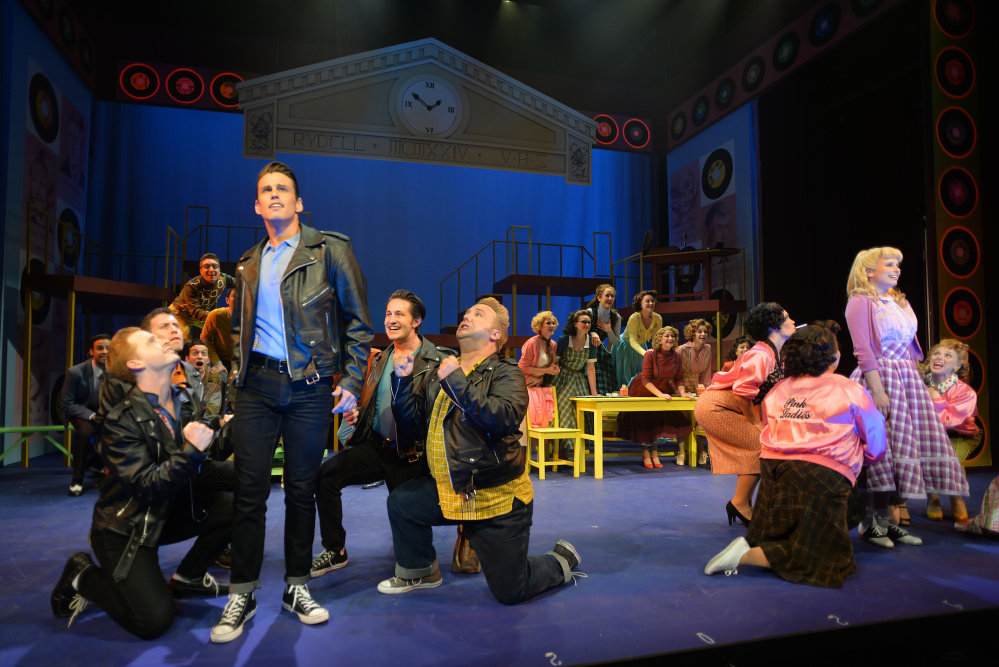 """The Burger Palace Boys and the Pink Ladies perform in """"Grease"""" at the Maine State Music Theatre."""