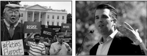 PEOPLE GATHER OUTSIDE THE WHITE HOUSE on Pennsylvania Avenue in Washington Tuesday to protest President Donald Trump in the photo on the left. On the right, Donald Trump Jr. campaigns for his father in Gilbert, Ariz. in 2016. Donald Trump Jr. has long stood firm as one of the president's his fiercest defenders. Now the president's eldest son is at the center of the firestorm over Russian connections swirling around his father's administration and trying to fight off charges that he was open to colluding with Moscow to defeat Hillary Clinton.