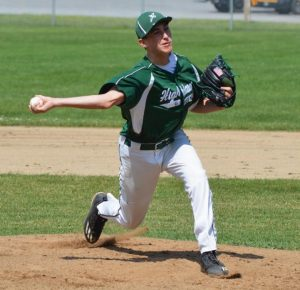 HIGHLAND GREEN PITCHER Alex Larson of Brunswick fires a pitch during Saturday's Zone 3 baseball opener in Topsham.