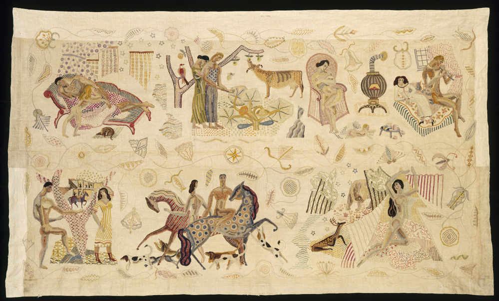 Embroidered panel (joined side panels from bedspread), by Marguerite Zorach, 1925-28, polychrome wool embroidered on linen, 53  by 91  inches, Museum of Fine Arts, Boston.