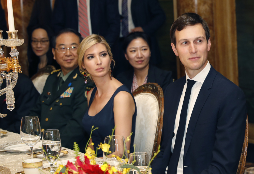 Ivanka Trump and her husband, White House senior adviser Jared Kushner, attend a dinner honoring Chinese President Xi Jinping, left, in Palm Beach, Fla., in April.