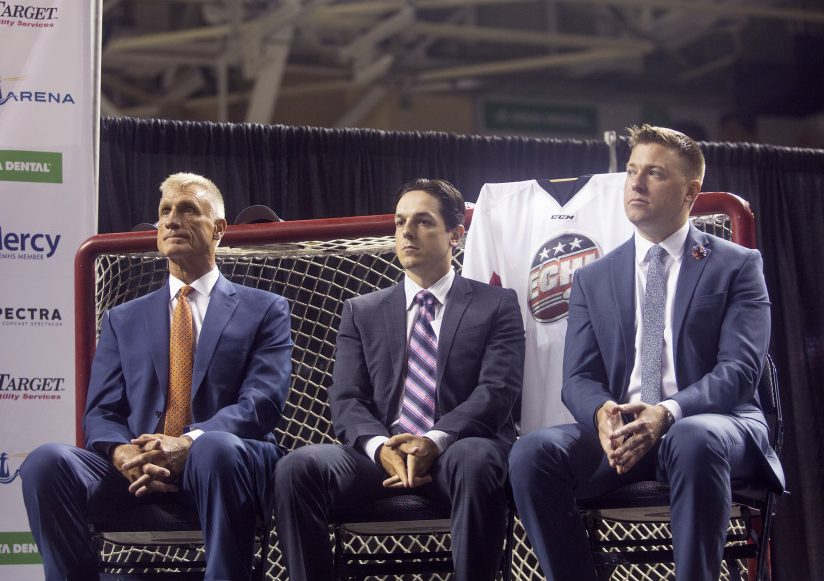 """Adam Goldberg, right, vice president of business operations for Portland's new ECHL franchise, says, """"The name we actually decided on was quite recent."""""""