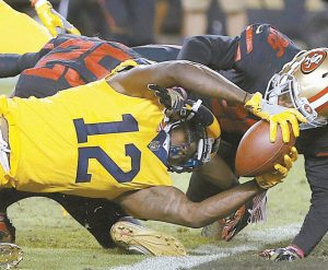 LOS ANGELES RAMS wide receiver Sammy Watkins (12) scores a touchdown against the San Francisco 49ers during the second half of an NFL football game in Santa Clara, Calif. Thursday night. The Rams won, 41-39 in a thriller.